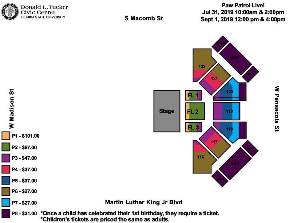 Seating Charts Donald L Tucker Civic Center
